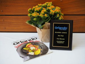 Award and Magazine from Orlando Magazine for Thai Blossom