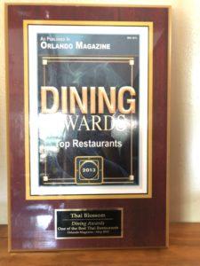 Dining awards One of the Best Thai Restaurant - Orlando Magazine May 2013