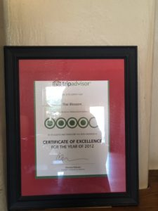 Tripadvisor Certificate of excellence for the year of 2012