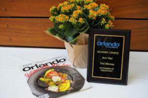 Award from Orlando The City's Magazine - Readers' Choice Best Thai to Thai Blossom Restautant